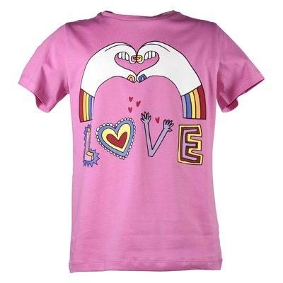 T-shirt fucsia LOVE in jersey di cotone