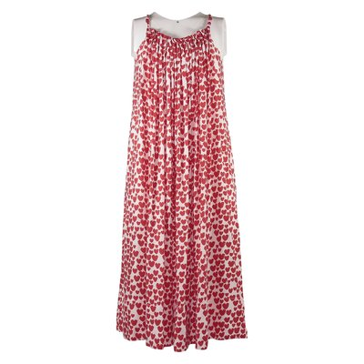 Red and white viscose dress