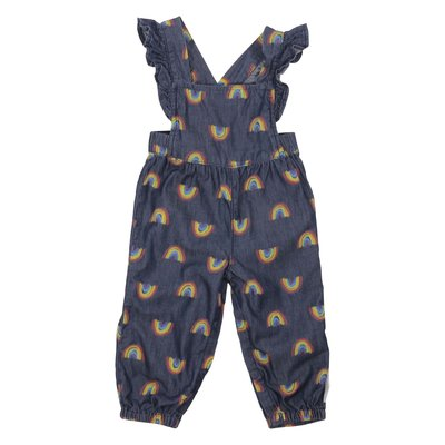 Rainbow print chambray cotton dungarees