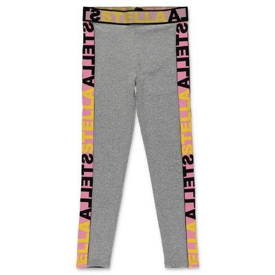 Stella McCartney leggings grigio melange in cotone stretch con logo