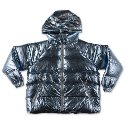 Stella McCartney metal blue nylon down jacket with hood