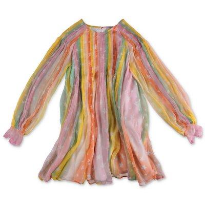 Stella McCartney printed multicolor pleated silk dress