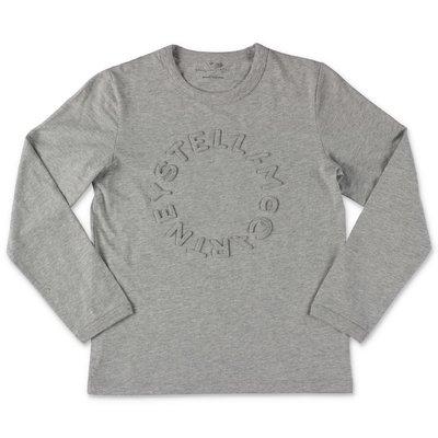 Stella McCartney t-shirt grigio melange in jersey di cotone con logo