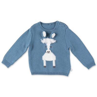 Stella McCartney Horse light blue cotton & wool knit jumper