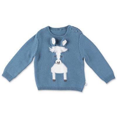 Stella McCartney pullover azzurro Horse in maglia di cotone e lana