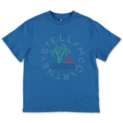 Stella McCartney t-shirt blu in jersey di cotone