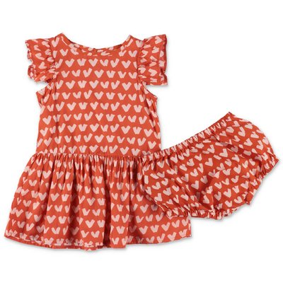 Stella McCartney orange cotton dress and coulottes