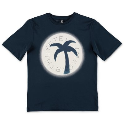 Stella McCartney t-shirt blu in jersey di cotone