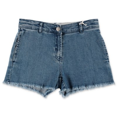 Stella McCartney shorts blu in denim di cotone stretch