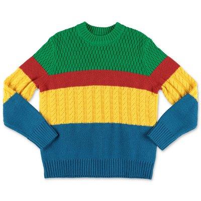 Stella McCartney pullover multicolor in maglia di cotone e lana effetto patchwork