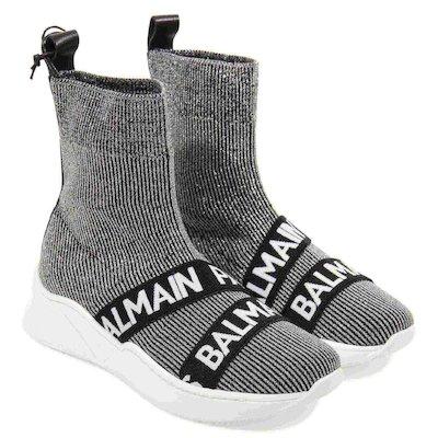 Silver logo striped lurex knit sock slip-on sneakers