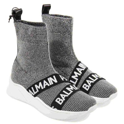 Silver logo striped lurex knit sock slip-on sneakers