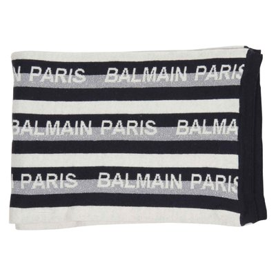 Balmain striped logo-jacquard cotton-cashmere blend scarf