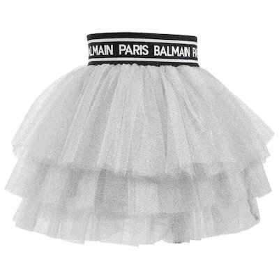 Silver colored logo lurex tulle skirt