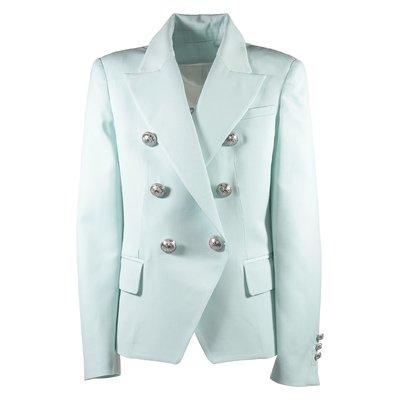 Giacca doppiopetto verde Tiffany in twill di fresco di lana