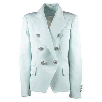 Tiffany green cool wool twill double-breasted blazer