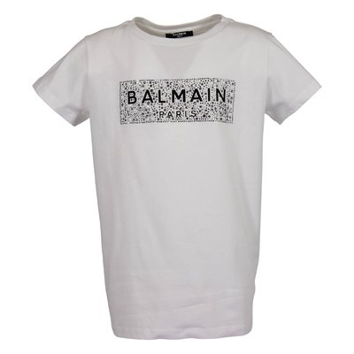 Balmain white logo detail organic cotton jersey t-shirt