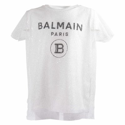 Balmain white logo detail mesh appliqué cotton jersey t-shirt