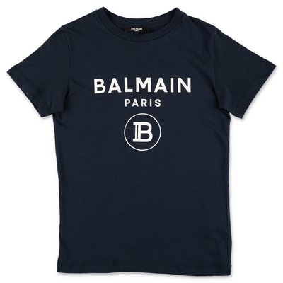 Balmain navy blue logo detail cotton jersey t-shirt
