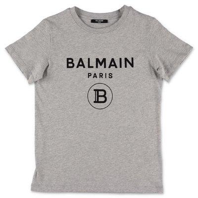 Balmain t-shirt grigio melange in jersey di cotone