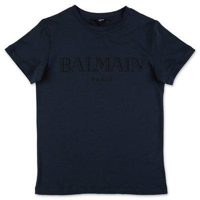 Balmain t-shirt blu scuro in jersey di cotone con logo
