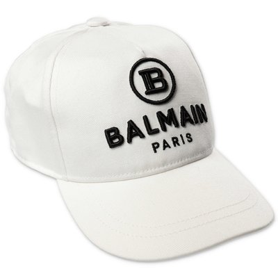 Balmain logo white cotton canvas baseball cap
