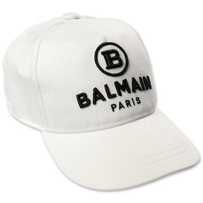 Balmain berretto da baseball bianco in tela di cotone con logo
