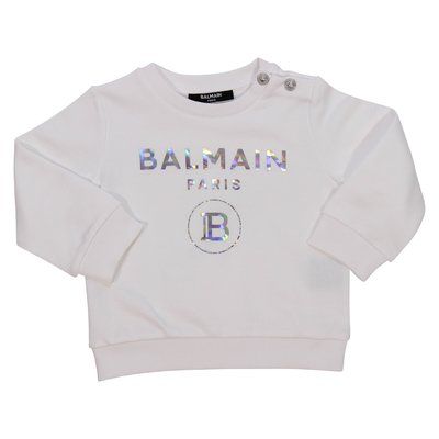 Balmain logo white cotton sweatshirt
