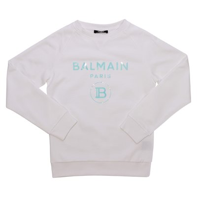 Balmain felpa bianca in cotone con logo
