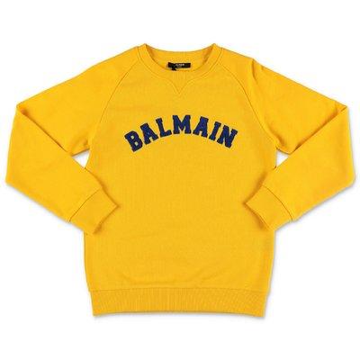 Balmain felpa gialla in cotone con logo
