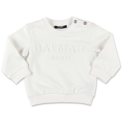 Balmain white logo detail cotton sweatshirt