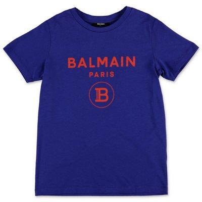 Balmain t-shirt blu in jersey di cotone con logo