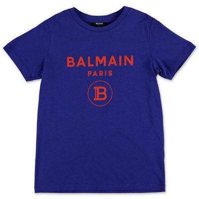 Balmain blue logo detail cotton jersey t-shirt