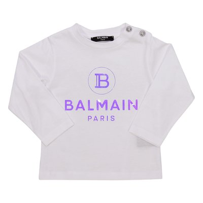 Balmain logo white jersey cotton t-shirt