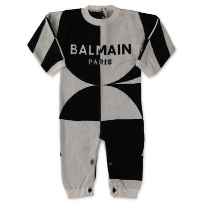Balmain white & black wool knit romper