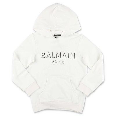 Balmain white logo detail cotton hoodie