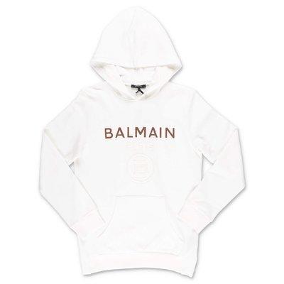 BALMAIN white cotton hoodie