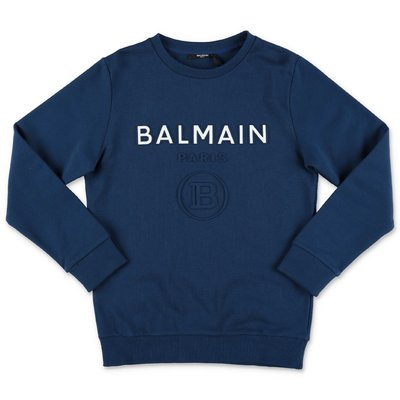 BALMAIN blue logo detail cotton sweatshirt