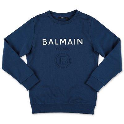 BALMAIN felpa blu in cotone con logo