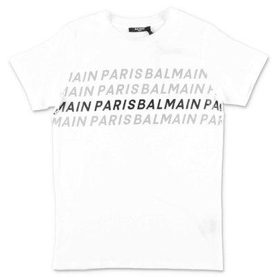 Balmain t-shirt bianca in jersey di cotone