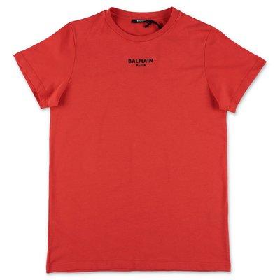 BALMAIN t-shirt rossa in jersey di cotone