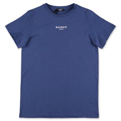 BALMAIN t-shirt blu in jersey di cotone
