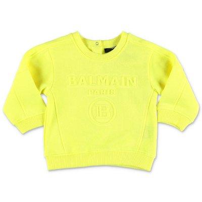 레몬 옐로우 코튼 Balmain 스웨트 셔츠