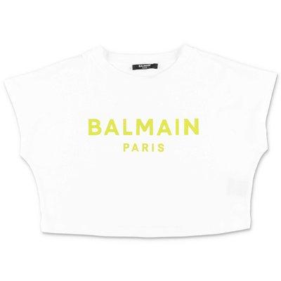 화이트 코튼 저지 크롭 BALMAIN 티셔츠