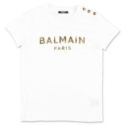 화이트 코튼 저지 BALMAIN 티셔츠