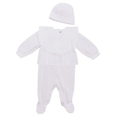 White cotton set with romper, bib & hat
