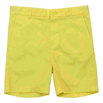 Lemon yellow cotton gabardine shorts
