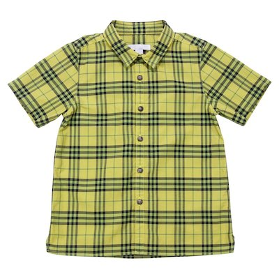 Yellow check cotton poplin shirt