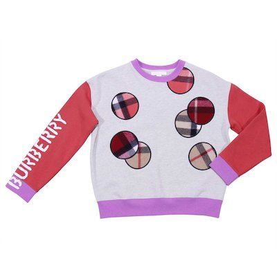 Color block cotton sweatshirt with patches