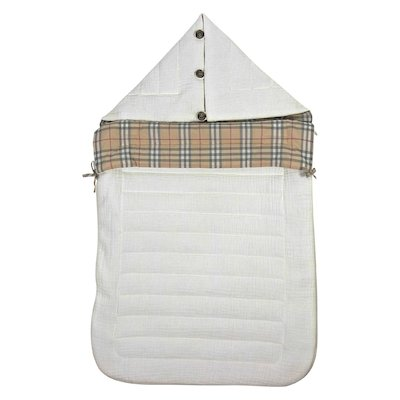 White vintage check lined padded sleeping bag